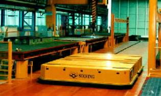 Automatic guidance for production, robotic positioning of loads