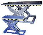 Industrial Lift table for adjustable height positioning. Ergonomic equipment for rotating, lifting or moving heavy loads