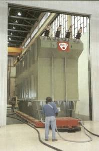 Handling tall transformers on air - through doorways. Moving transformers through dorr ways and into high voltage test