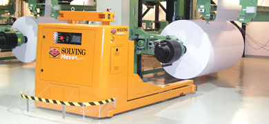 Automatically guided Paper Roll material handling system on air casters