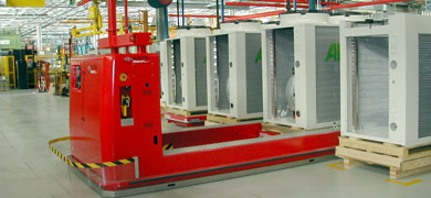 automated guided vehicle system for handling Rolls and reels automatically